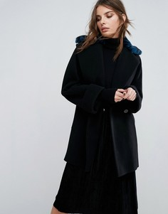 Пальто с воротником из искусственного меха под леопарда Helene Berman Yummy - Синий