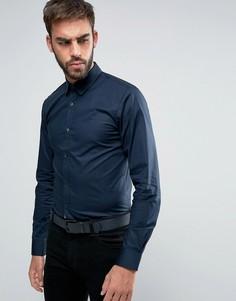 Эластичная рубашка слим с контрастной планкой на пуговицах HUGO by Hugo Boss Efin - Темно-синий