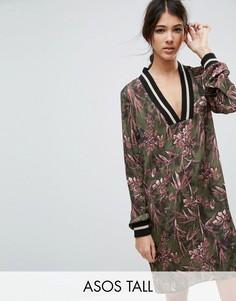 Атласное цельнокройное платье с цветочным принтом ASOS TALL - Мульти