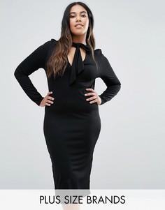Платье миди с завязкой на бант Club L Plus - Черный