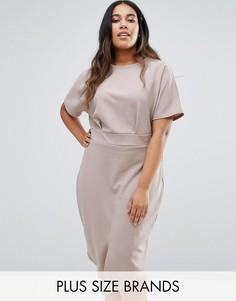 Платье миди размера плюс с разрезом спереди Club L Office - Серый