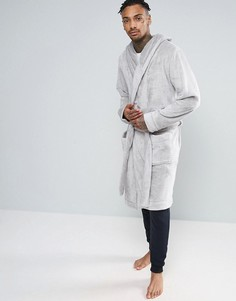 Серый флисовый халат с капюшоном ASOS - Серый