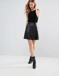 Кожаная юбка-трапеция Muubaa - Черный