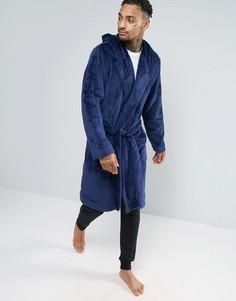 Темно-синий флисовый халат с капюшоном ASOS - Темно-синий