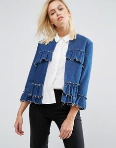 Куртка с оборками и необработанными краями Helene Berman - Синий