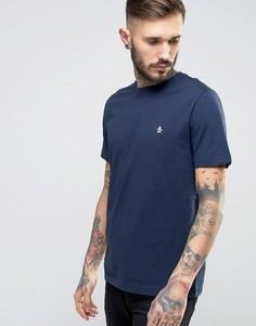 Темно-синяя узкая футболка с небольшим логотипом Original Penguin - Темно-синий