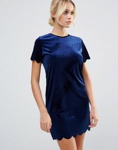Бархатное цельнокройное платье Daisy Street - Темно-синий