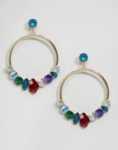 Серьги-кольца с камнями ASOS - Мульти