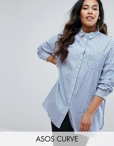 Хлопковая oversize-рубашка в полоску с закругленным низом ASOS CURVE - Мульти
