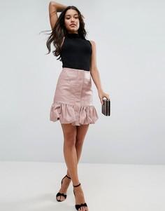 Мини-юбка из искусственной кожи с присборенным подолом ASOS - Розовый