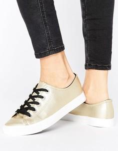 Кроссовки из искусственной кожи цвета металлик с контрастными шнурками New Look - Золотой