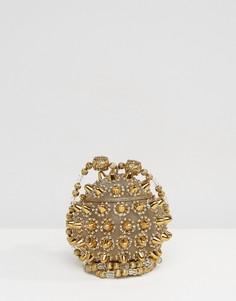 Металлическая круглая сумка на плечо с шипами и бусинами Park Lane - Золотой