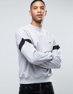 Oversize-свитер с полосой на рукавах и вышитой буквой А Antioch - Серый
