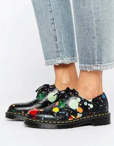 Туфли на плоской подошве с 3 парами люверсов Dr Martens 1461 - Черный