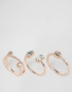 3 кольца с золотисто-розовой отделкой и камнями ASOS - Медный