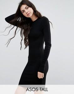 Облегающее платье мини в рубчик с длинными рукавами ASOS TALL - Черный