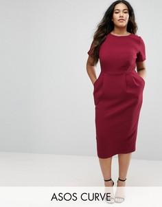 Облегающее фактурное платье миди ASOS CURVE - Красный