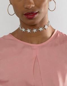 Ожерелье-чокер со звездой Ashiana - Серебряный