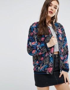 Куртка-пилот с цветочным принтом Brave Soul - Темно-синий