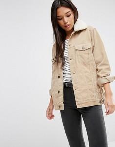 Вельветовая куртка песочного цвета со съемным воротником борг ASOS - Stone