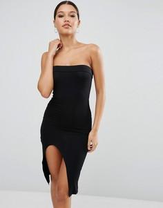 Облегающее платье миди без бретелек с закругленным разрезом ASOS - Черный
