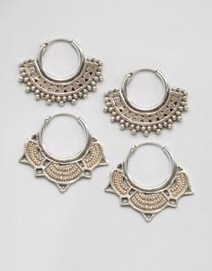 Набор из двух пар серебряных серег-колец Fashionology - Серебряный