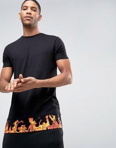 Длинная футболка с асимметричным краем и принтом ASOS - Черный