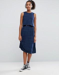 Платье миди в рубчик со шнурком ASOS - Синий