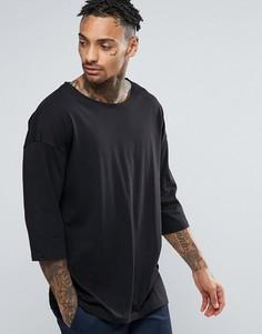 Черная оversize-футболка с рукавами 3/4 и вырезом лодочкой ASOS - Черный