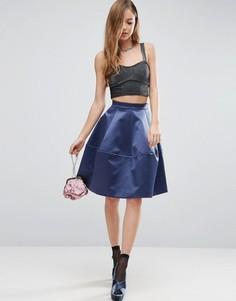 Атласная юбка для выпускного с декоративной строчкой ASOS - Синий