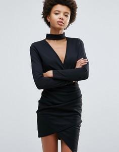 Облегающее платье с перекрестной отделкой спереди Daisy Street - Черный