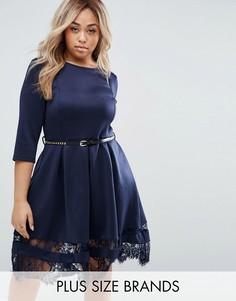 Короткое приталенное платье с кружевом по краю Praslin Plus - Темно-синий