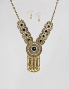 Броское ожерелье и серьги-подвески Ruby Rocks - Золотой