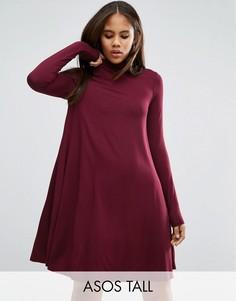 Свободное платье с воротником поло и длинными рукавами ASOS TALL - Красный