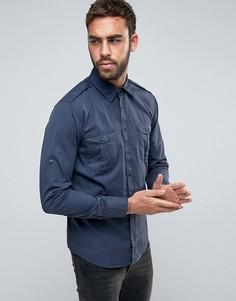 Узкая рубашка в стиле милитари BOSS Orange by Hugo Boss - Темно-синий