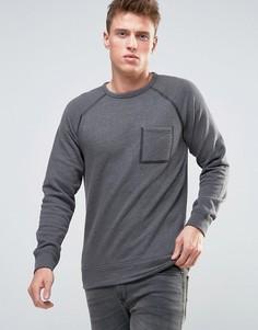 Свитшот с окантованными рукавами реглан и карманом Esprit - Серый