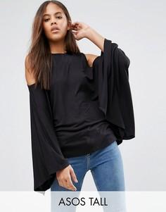 Топ с открытыми плечами и рукавами-кимоно ASOS TALL - Черный