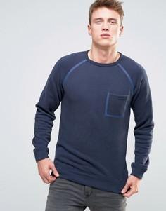 Свитшот с окантованными рукавами реглан и карманом Esprit - Темно-синий