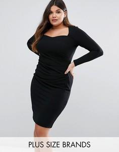 Платье с квадратным вырезом Goddiva Plus - Черный