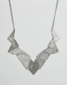 Броское асимметричное ожерелье Ruby Rocks - Серебряный