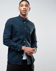 Узкая рубашка с длинными рукавами и цветочным принтом Selected Homme - Темно-синий
