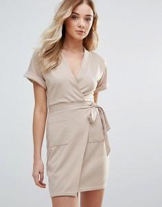 Платье мини с запахом Daisy Street - Кремовый