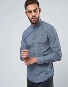 Узкая рубашка с геометрическим принтом BOSS Orange by Hugo Boss - Темно-синий