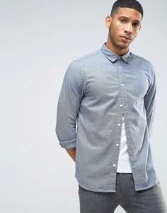 Фактурная узкая рубашка с длинными рукавами Selected Homme - Темно-синий