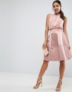 Атласная юбка для выпускного с декоративной строчкой ASOS - Розовый