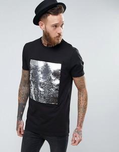 Длинная футболка с пайетками спереди ASOS - Черный
