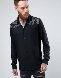 Рубашка стандартного кроя с вышивкой металлик на кокетке ASOS - Черный