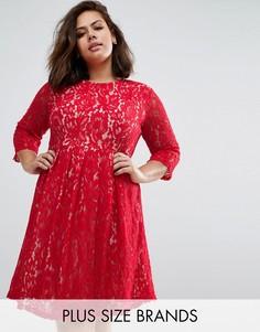 Кружевное приталенное платье Praslin Plus - Красный