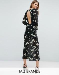 Платье с цветочным принтом и вырезом на спине Influence Tall - Черный