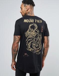 Длинная футболка с принтом тигра в восточном стиле ASOS - Черный